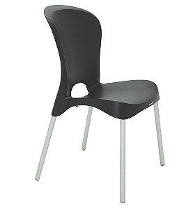 Cadeira Sem Bracos Pernas Anodizadas Summa Tramontina Preto 55 Cm