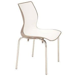 Cadeira Sem Bracos Pernas Polidas Summa Tramontina Branco e Marrom 53 Cm