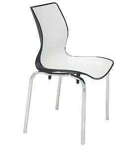 Cadeira Sem Bracos Pernas Polidas Summa Tramontina Branco e Preto 53 Cm