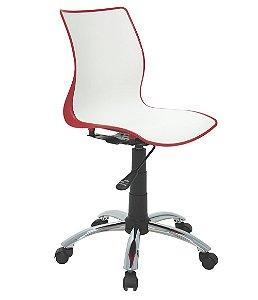 Cadeira Sem Bracos com Rodizio Cromado Summa Tramontina Branco e Vermelho 60 Cm