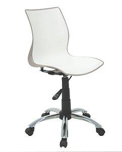Cadeira Sem Bracos com Rodizio Cromado Summa Tramontina Branco e Marrom 60 Cm