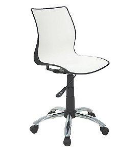 Cadeira Sem Bracos com Rodizio Cromado Summa Tramontina Branco e Preto 60 Cm