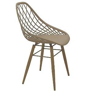 Cadeira com Pernas de Madeira Summa Tramontina Bege 85 Cm