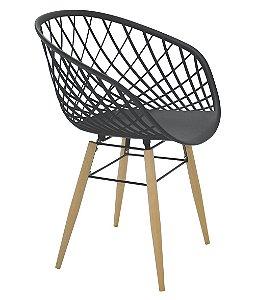 Cadeira com Pernas de Madeira Summa Tramontina Preto 82 Cm