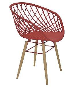 Cadeira com Pernas de Madeira Summa Tramontina Vermelho 82 Cm