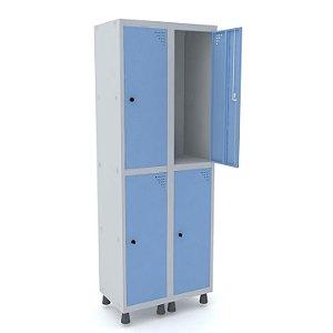 Roupeiro de Aco 2 Vaos 4 Portas com Pitao Pandin Cinza e Azul Dali  1,90 M