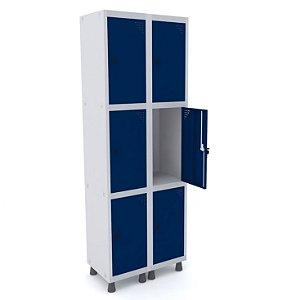 Roupeiro de Aco 2 Vaos 6 Portas com Pitao Pandin Cinza e Azul Del Rey  1,90 M