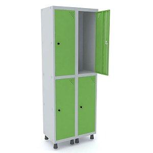 Roupeiro de Aco 2 Vaos 4 Portas com Pitao Pandin Cinza e Verde Miro  1,90 M