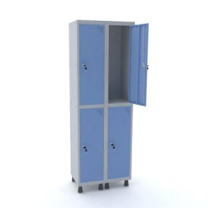 Roupeiro de Aco 2 Vaos 4 Portas com Fechadura Pandin Cinza e Azul Dali  1,90 M