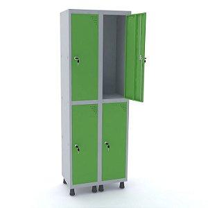Roupeiro de Aco 2 Vaos 4 Portas com Fechadura Pandin Cinza e Verde Miro  1,90 M