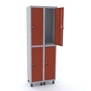 Roupeiro de Aco 2 Vaos 4 Portas com Fechadura Pandin Cinza e Vermelho  1,90 M