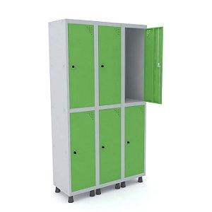Roupeiro de Aco 3 Vaos 6 Portas com Pitao Pandin Cinza e Verde Miro  1,90 M