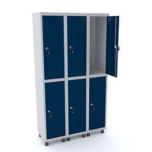 Roupeiro de Aco 3 Vaos 6 Portas com Fechadura Pandin Cinza e Azul Del Rey  1,90 M