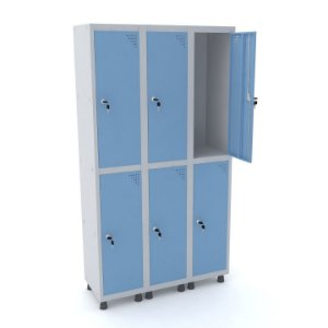 Roupeiro de Aco 3 Vaos 6 Portas com Fechadura Pandin Cinza e Azul Dali  1,90 M