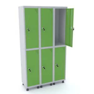 Roupeiro de Aco 3 Vaos 6 Portas com Fechadura Pandin Cinza e Verde Miro  1,90 M