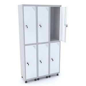 Roupeiro de Aco 3 Vaos 6 Portas com Fechadura Pandin Cinza e Branco  1,90 M