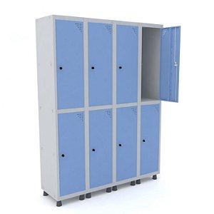 Roupeiro de Aco 4 Vaos 8 Portas com Pitao Pandin Cinza e Azul Dali  1,90 M