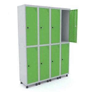 Roupeiro de Aco 4 Vaos 8 Portas com Pitao Pandin Cinza e Verde Miro  1,90 M