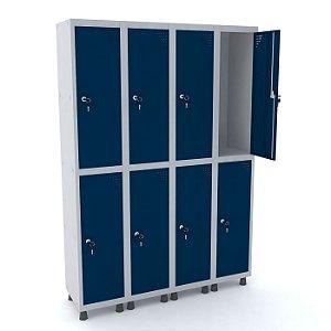 Roupeiro de Aco 4 Vaos 8 Portas com Fechadura Pandin Cinza e Azul Del Rey  1,90 M