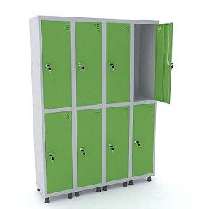 Roupeiro de Aco 4 Vaos 8 Portas com Fechadura Pandin Cinza e Verde Miro  1,90 M