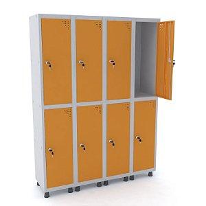 Roupeiro de Aco 4 Vaos 8 Portas com Fechadura Pandin Cinza e Laranja Picasso  1,90 M