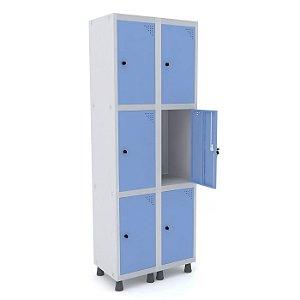 Roupeiro de Aco 2 Vaos 6 Portas com Pitao Pandin Cinza e Azul Dali  1,90 M