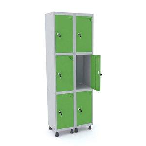 Roupeiro de Aco 2 Vaos 6 Portas com Fechadura Pandin Cinza e Verde Miro  1,90 M