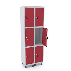 Roupeiro de Aco 2 Vaos 6 Portas com Fechadura Pandin Cinza e Vermelho  1,90 M