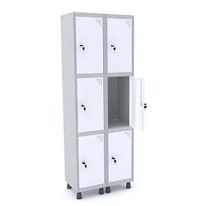 Roupeiro de Aco 2 Vaos 6 Portas com Fechadura Pandin Cinza e Branco  1,90 M
