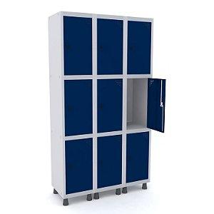 Roupeiro de Aco 3 Vaos 9 Portas com Pitao Pandin Cinza e Azul Del Rey  1,90 M