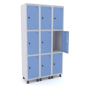 Roupeiro de Aco 3 Vaos 9 Portas com Pitao Pandin Cinza e Azul Dali  1,90 M