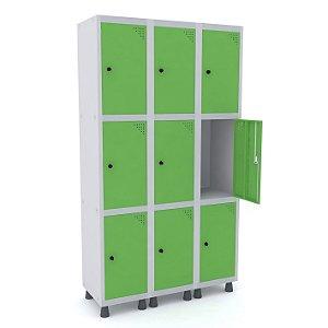 Roupeiro de Aco 3 Vaos 9 Portas com Pitao Pandin Cinza e Verde Miro  1,90 M