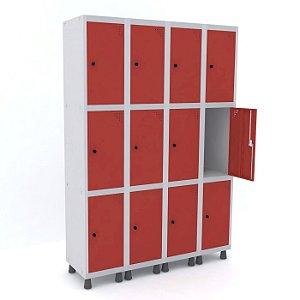 Roupeiro de Aco 4 Vaos 12 Portas com Pitao Pandin Cinza e Vermelho  1,90 M