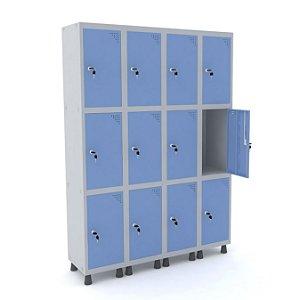 Roupeiro de Aco 4 Vaos 12 Portas com Fechadura Pandin Cinza e Azul Dali  1,90 M