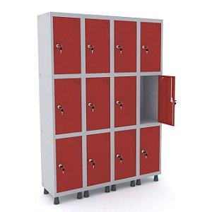 Roupeiro de Aco 4 Vaos 12 Portas com Fechadura Pandin Cinza e Vermelho  1,90 M