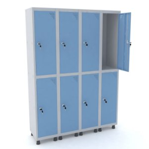 Roupeiro de Aco 4 Vaos 8 Portas com Fechadura Pandin Cinza e Azul Dali  1,90 M