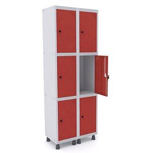 Roupeiro de Aco 2 Vaos 6 Portas com Pitao Pandin Cinza e Vermelho  1,90 M