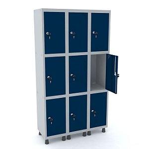 Roupeiro de Aco 3 Vaos 9 Portas com Fechadura Pandin Cinza e Azul Del Rey  1,90 M