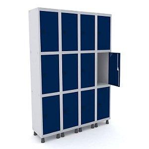 Roupeiro de Aco 4 Vaos 12 Portas com Pitao Pandin Cinza e Azul Del Rey  1,90 M