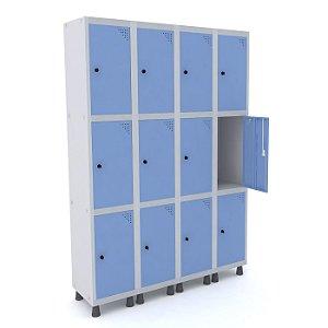 Roupeiro de Aco 4 Vaos 12 Portas com Pitao Pandin Cinza e Azul Dali  1,90 M