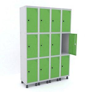 Roupeiro de Aco 4 Vaos 12 Portas com Pitao Pandin Cinza e Verde Miro  1,90 M