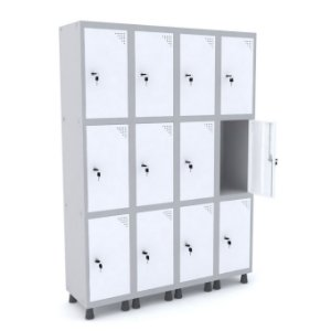 Roupeiro de Aco 4 Vaos 12 Portas com Fechadura Pandin Cinza e Branco  1,90 M