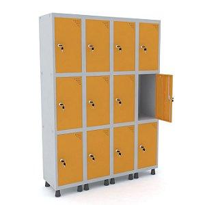 Roupeiro de Aco 4 Vaos 12 Portas com Fechadura Pandin Cinza e Laranja Picasso  1,90 M