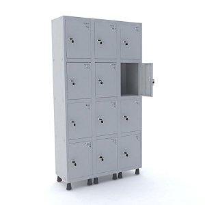 Roupeiro de Aco 3 Vaos 12 Portas com Fechadura Pandin Cinza  1,90 M