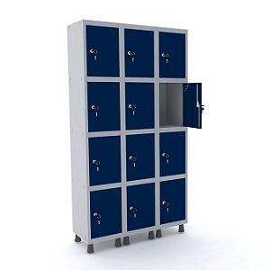 Roupeiro de Aco 3 Vaos 12 Portas com Fechadura Pandin Cinza e Azul Del Rey  1,90 M