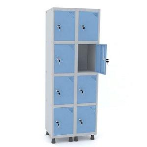 Roupeiro de Aco 2 Vaos 8 Portas com Fechadura Pandin Cinza e Azul Dali  1,90 M