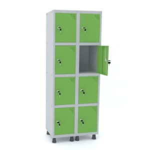 Roupeiro de Aco 2 Vaos 8 Portas com Fechadura Pandin Cinza e Verde Miro  1,90 M