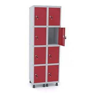Roupeiro de Aco 2 Vaos 8 Portas com Fechadura Pandin Cinza e Vermelho  1,90 M