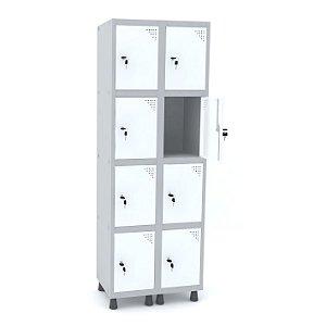 Roupeiro de Aco 2 Vaos 8 Portas com Fechadura Pandin Cinza e Branco  1,90 M