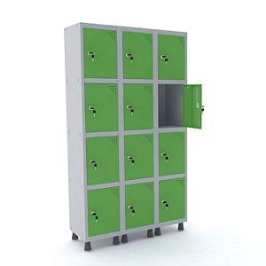 Roupeiro de Aco 3 Vaos 12 Portas com Fechadura Pandin Cinza e Verde Miro  1,90 M